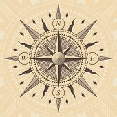 Vector oldstyle wind rose compass