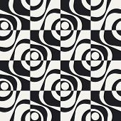 Abstract Square Pattern. Vector Seamless Monochrome Background. Regular Checkered Texture