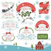 Vintage Christmas,New Year Calligraphic badges set.eps