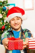 Teen boy giving a present
