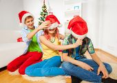 Pulling down the Santa hats