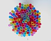 colorful drinking straws strong bokeh