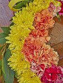 flowers wreath partial view closeup