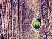 a hole in a wooden picket fence