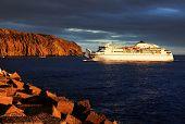Ship in sunset light