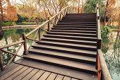Wooden Bridge Stairs, West Lake Park In Hangzhou