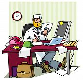 Busy Chief Doctor In A Office