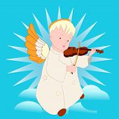 Cartoon Angel Playing The Violin
