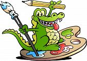 Hand-drawn Vector Illustration Of An Happy Creative Artist Crocodile