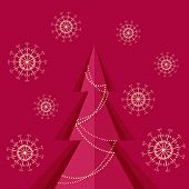 Red Background With Christmas Pine Tree And Snowflakes