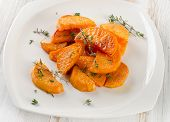 Baked Sweet Potato Wedges With Herbs