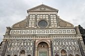 picture of masterpiece  - Facade of the Santa Maria Novella church gothic Italian masterpiece in Florence - JPG
