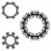 A round set of black ornaments on white
