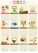Calendar of 2015 with funny cartoon of insects for Happy New Year celebrations.
