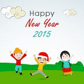 Cute little kids celebrating the occasion of Happy New Year 2015 on nature background.