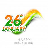 Happy Indian Republic Day celebrations with text 26th January and waves in national flag colors on white background.