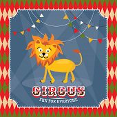 Vintage circus card with cute funny lion vector illustration
