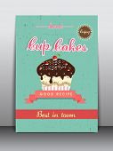 Stylish flyer, brochure, menu card or template design for cup cakes shop.