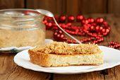 Homemade Peanut Paste On Toast On White Plate