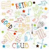 Collection of colorful doodles with stylish text of Retro and Good Club.