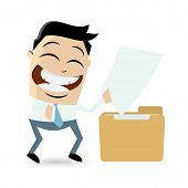 funny cartoon man with file