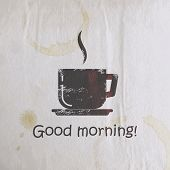 vector illustration with scratched coffee cup on old wrinkled paper texture. good morning