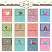 image of horoscope signs  - Annual calendar of 2015 with zodiac or horoscope signs for Happy New Year celebrations - JPG