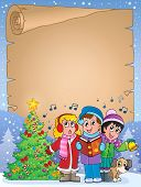 Постер, плакат: Parchment with carol singers eps10 vector illustration