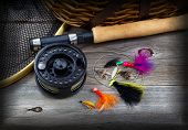 Fishing Gear On Rustic Wood With Vignette