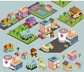 Small city environment. isometric vector illustration