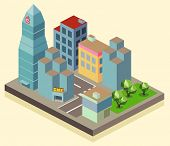 Isometric building office area. vector illustration