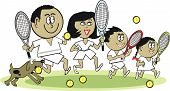 Afro American family sport cartoon