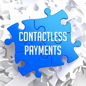 Contactless Payments on Blue Puzzle