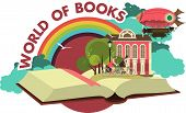 Open book trip to fabulous worlds emblem