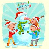 illustration of kids building Snowman for Christmas