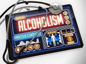 Alcoholism on the Display of Medical Tablet.
