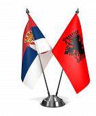 Albania and Serbia - Miniature Flags.