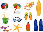 image of beach-ball  - Various Summer vector colorful icons available in eps format - JPG