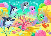 Funny marine animals under the sea. Cartoon vector illustration