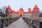 Lithuania, Trakai - November 17, 2014: Trakai Castle - Island castle in Trakai is a museum and a cultural center.