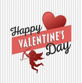Digitally generated Happy Valentines Day vector with cupid