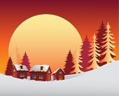 Digitally generated Snowy scene with the sunrise
