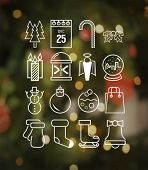 Digitally generated Christmas icons in hipster style vector