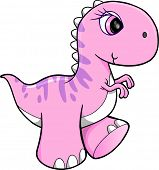 Cute Pink Dinosaur Vector Illustration Art