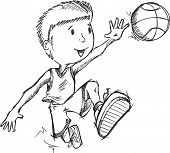 Basketball Player Vector Sketch Illustration Art
