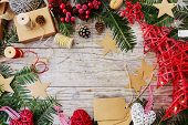 Christmas decoration, space for text, frame border