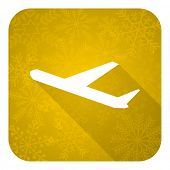 deparures flat icon, gold christmas button, plane sign
