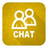 chat flat icon, gold christmas button