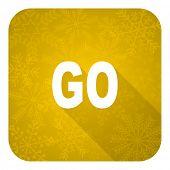 go flat icon, gold christmas button