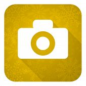 camera flat icon, gold christmas button